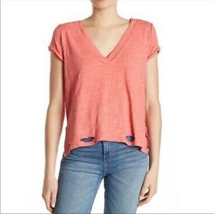 Free People We The Free Coral Sundance V Neck Top
